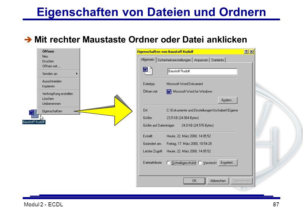 Eigenschaften von Dateien und Ordnern