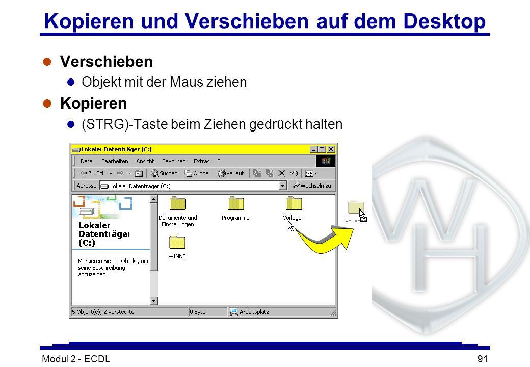 Kopieren und Verschieben auf dem Desktop