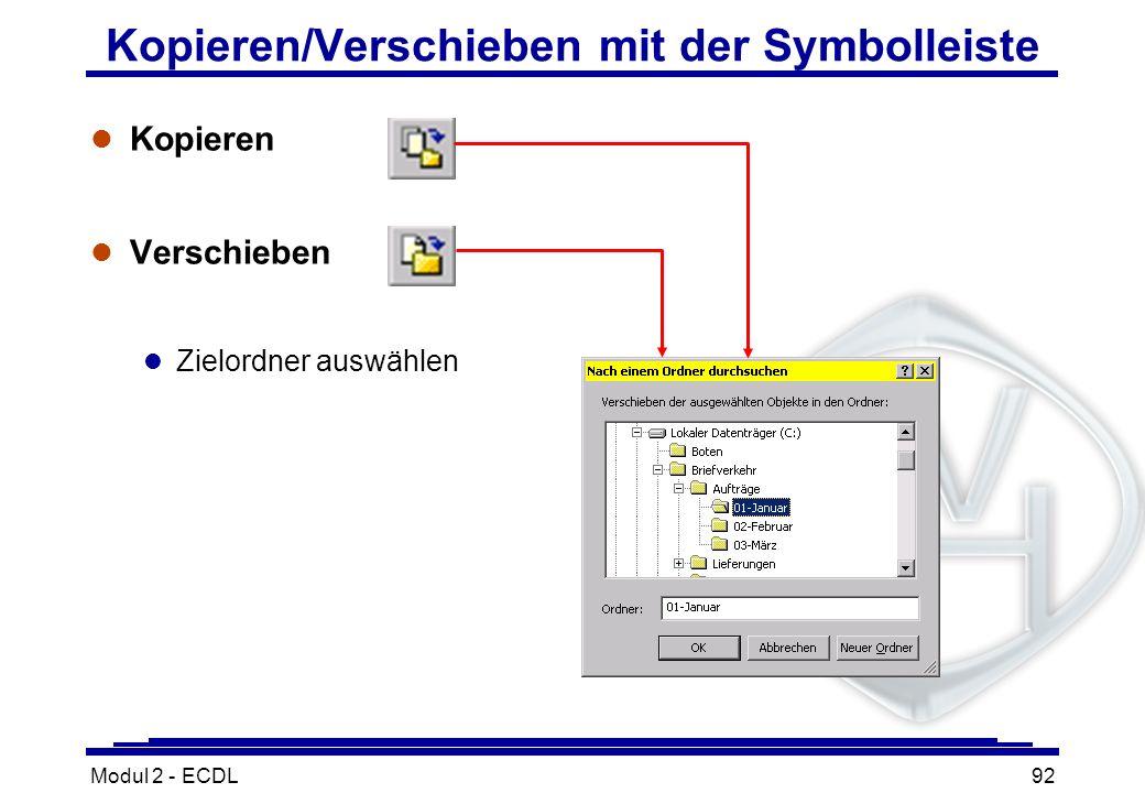 Kopieren/Verschieben mit der Symbolleiste