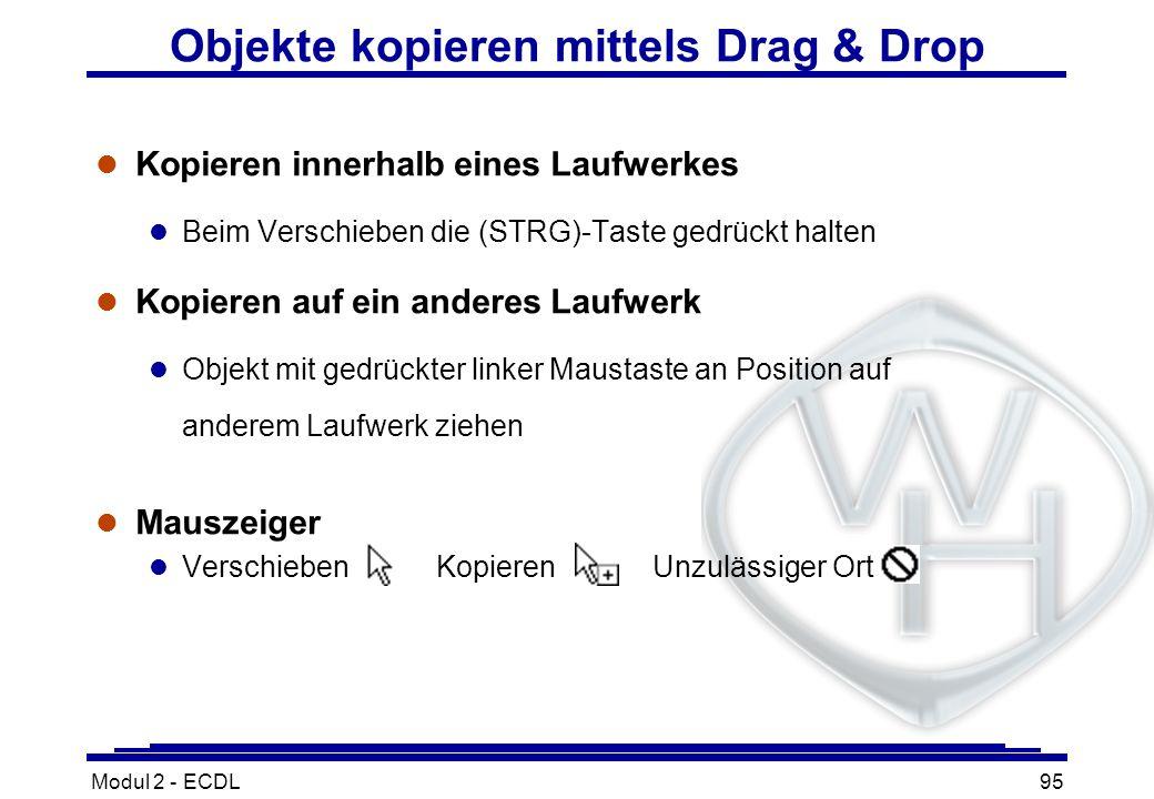 Objekte kopieren mittels Drag & Drop