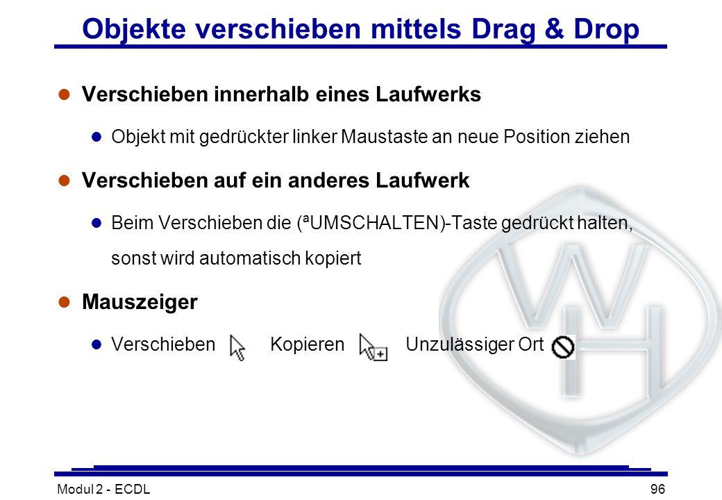 Objekte verschieben mittels Drag & Drop