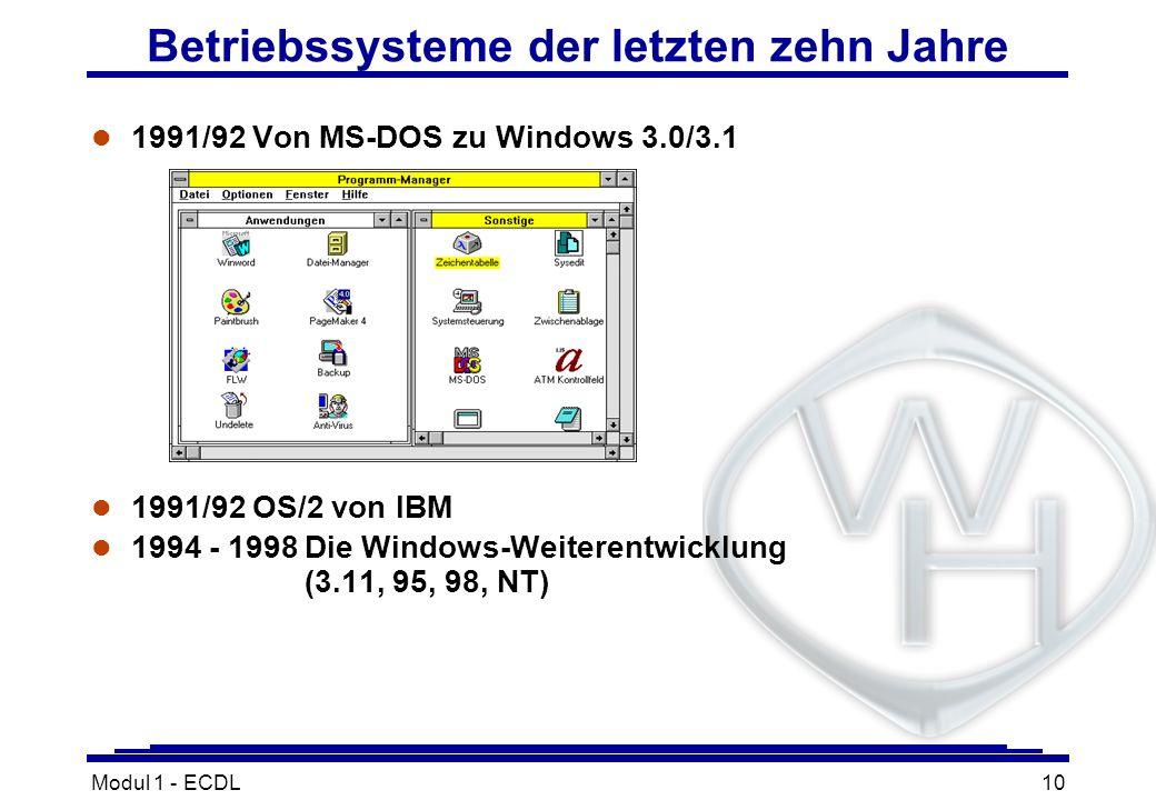 Betriebssysteme der letzten zehn Jahre