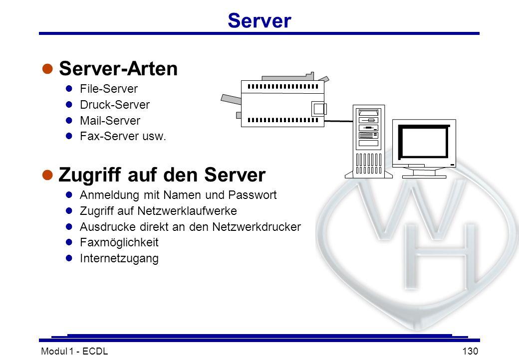 Server Server-Arten Zugriff auf den Server File-Server Druck-Server