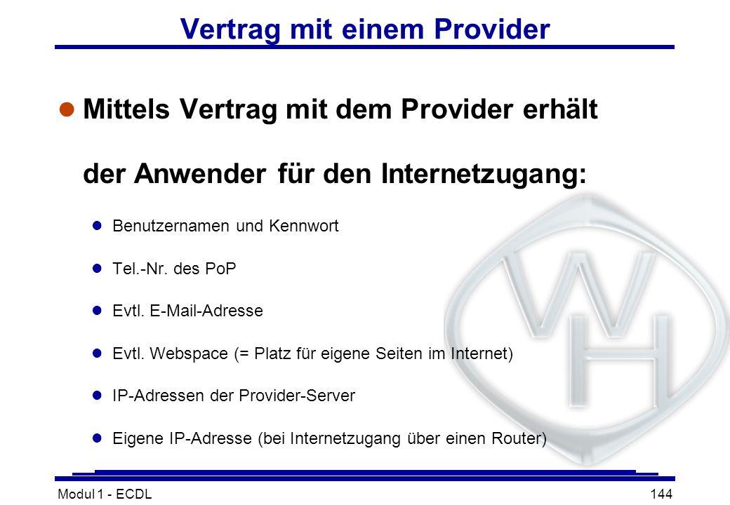 Vertrag mit einem Provider