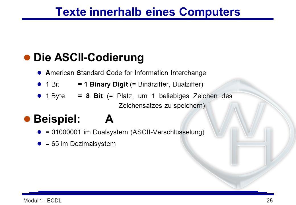 Texte innerhalb eines Computers