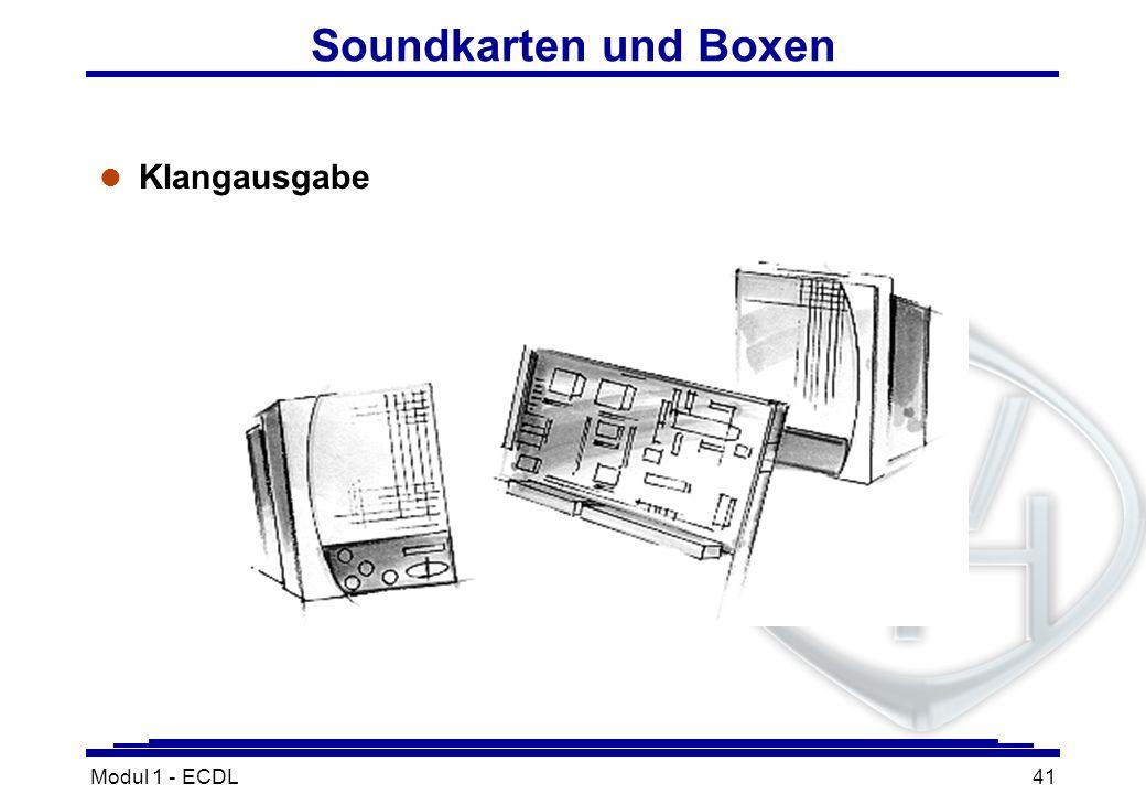 Soundkarten und Boxen Klangausgabe Modul 1 - ECDL