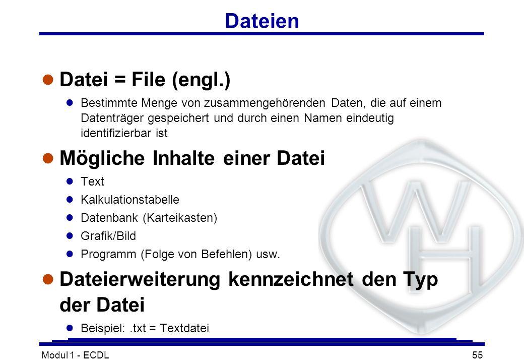 Dateien Datei = File (engl.) Mögliche Inhalte einer Datei