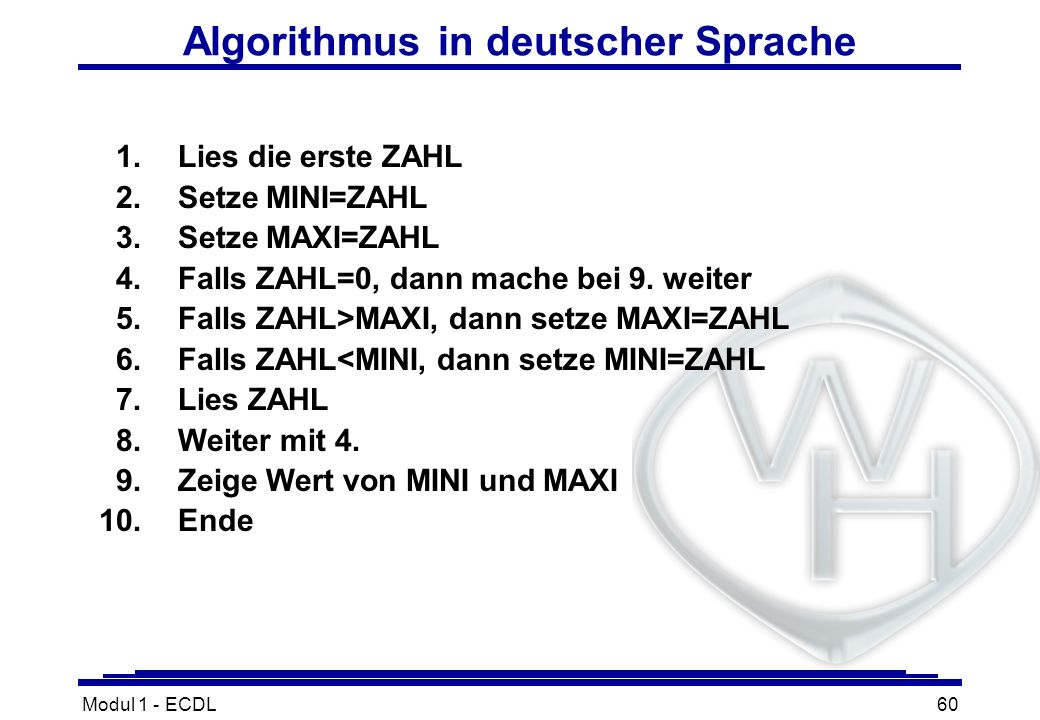 Algorithmus in deutscher Sprache