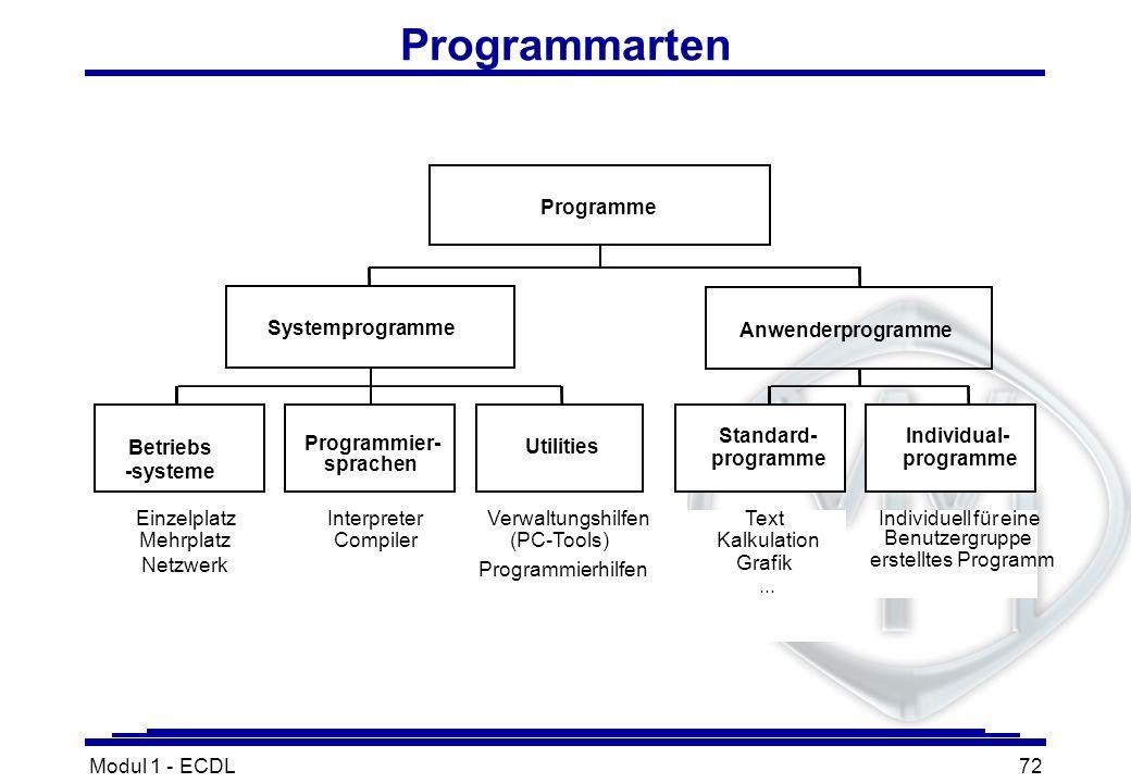Programmarten Programme Systemprogramme Anwenderprogramme Standard-
