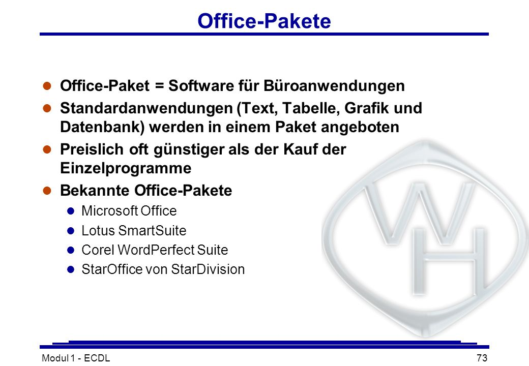 Office-Pakete Office-Paket = Software für Büroanwendungen