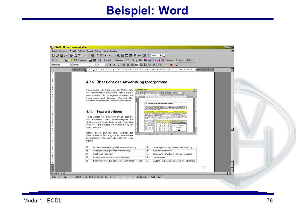 Beispiel: Word Modul 1 - ECDL