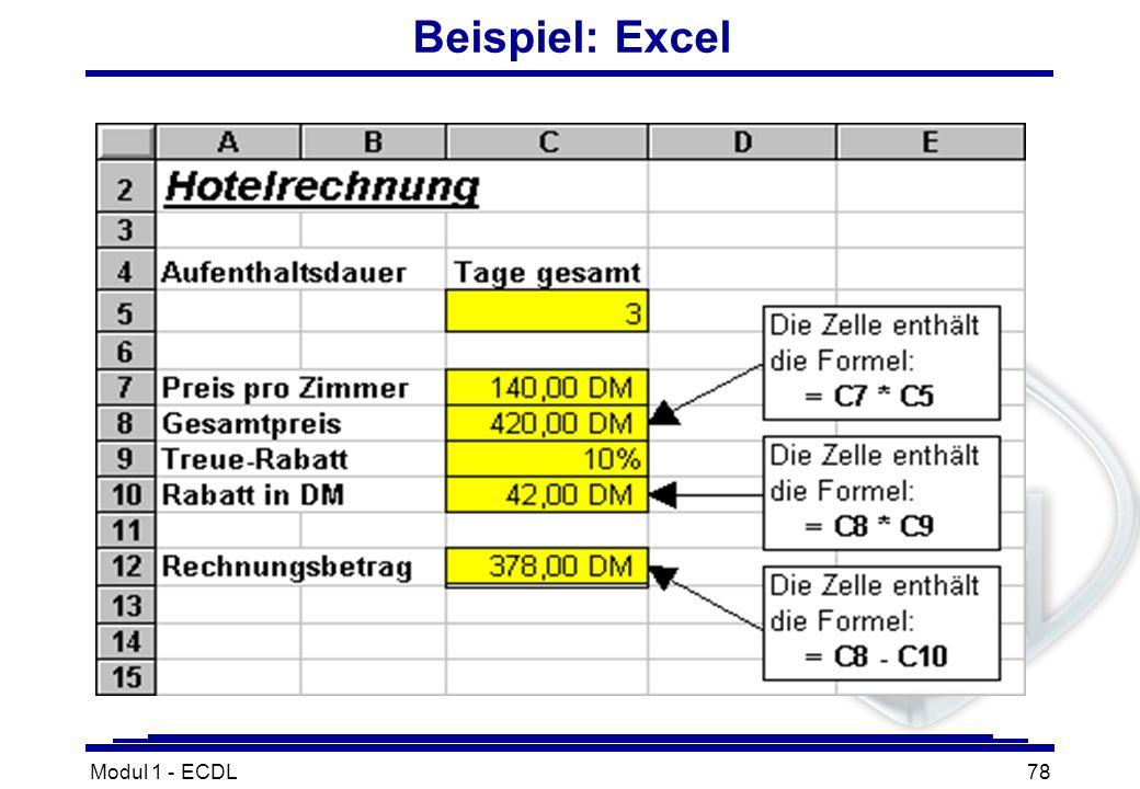 Beispiel: Excel Modul 1 - ECDL