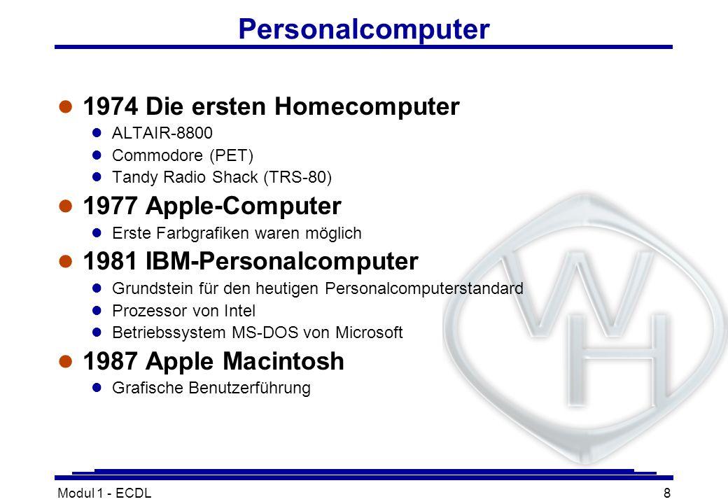 Personalcomputer 1974 Die ersten Homecomputer 1977 Apple-Computer