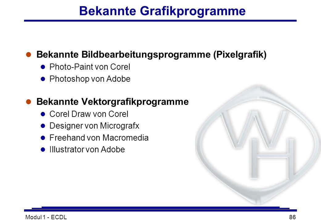 Bekannte Grafikprogramme