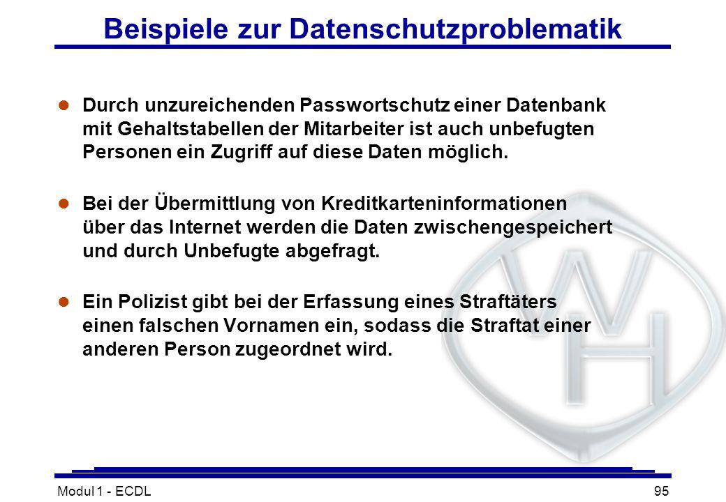 Beispiele zur Datenschutzproblematik