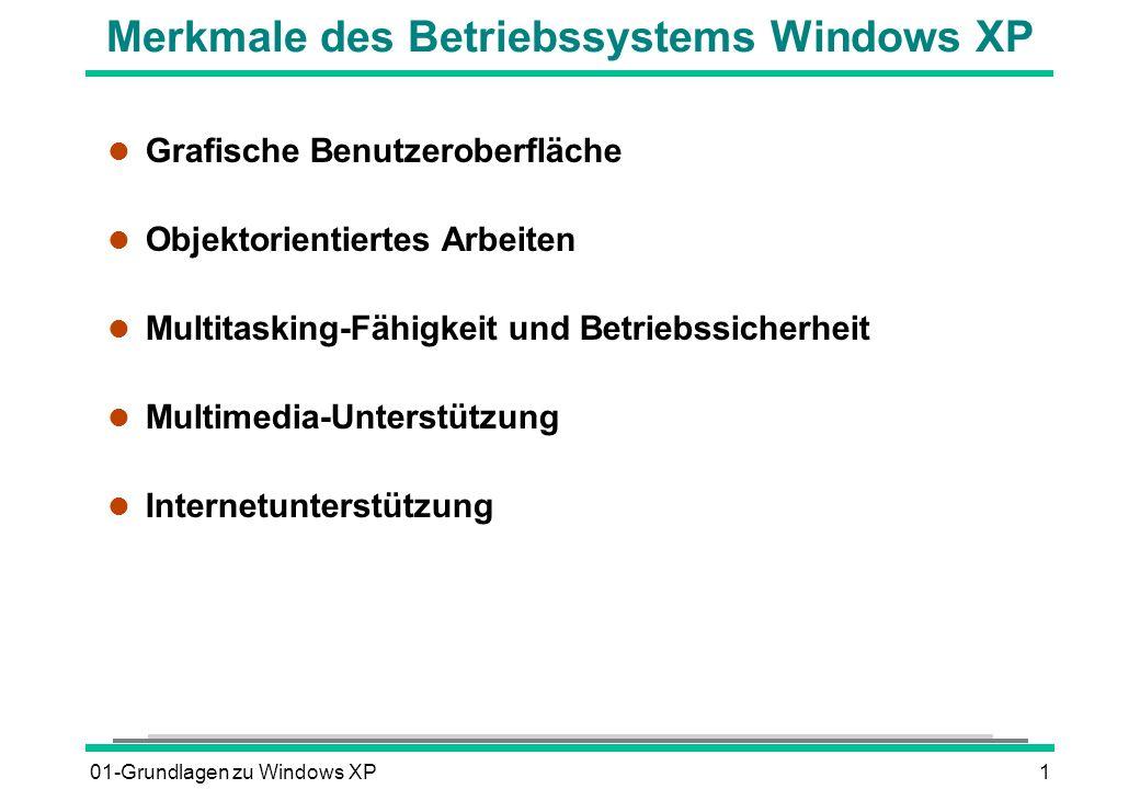 Merkmale des Betriebssystems Windows XP