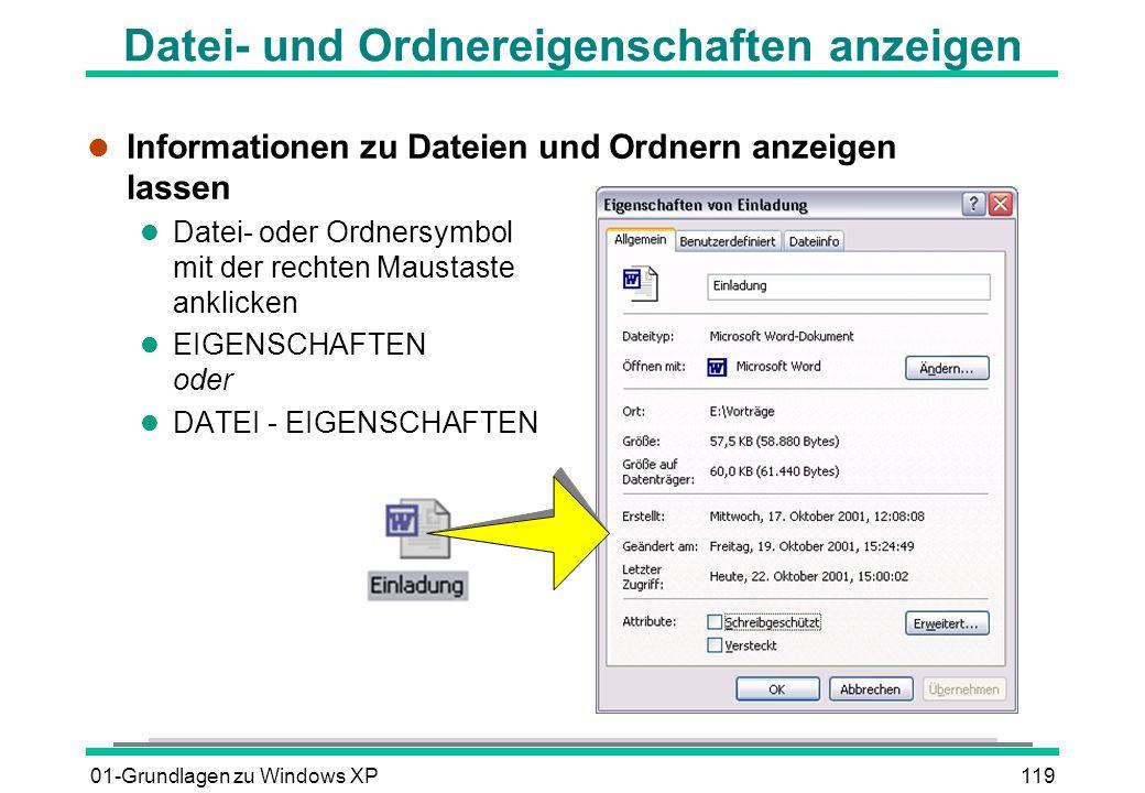 Datei- und Ordnereigenschaften anzeigen