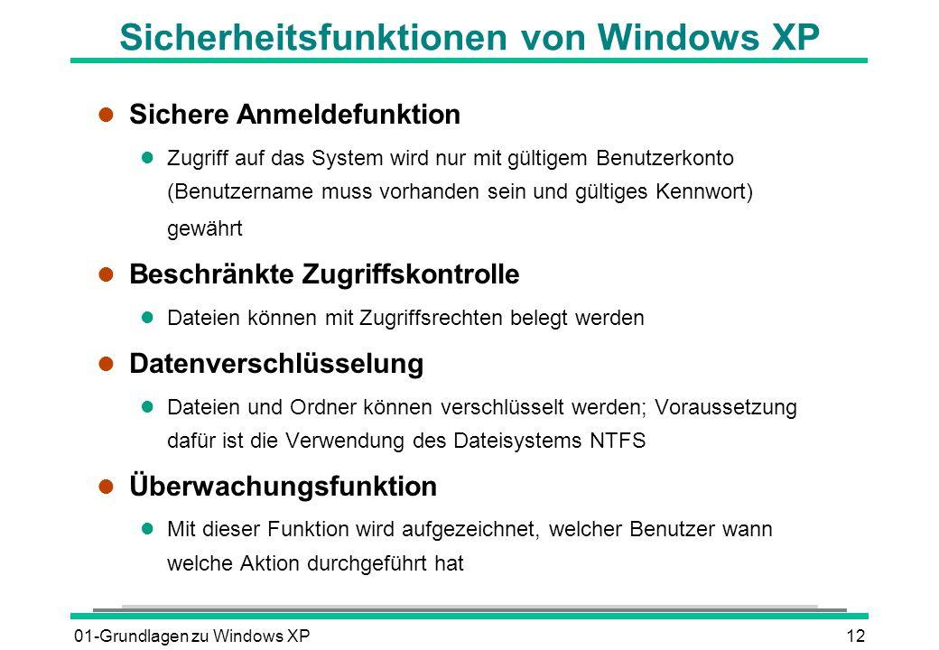 Sicherheitsfunktionen von Windows XP