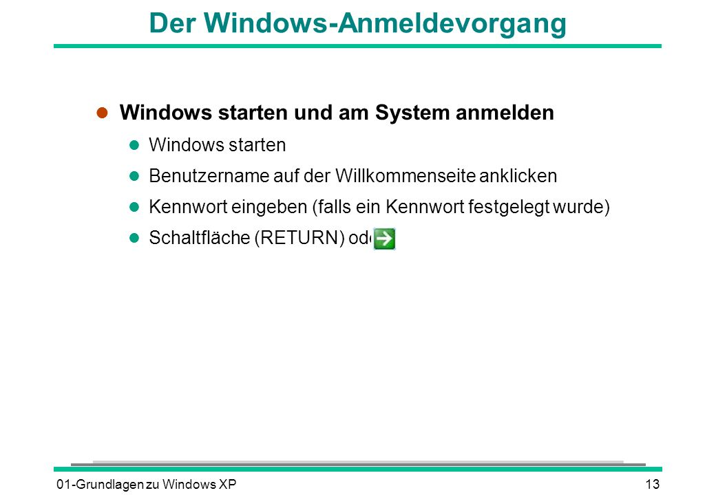 Der Windows-Anmeldevorgang