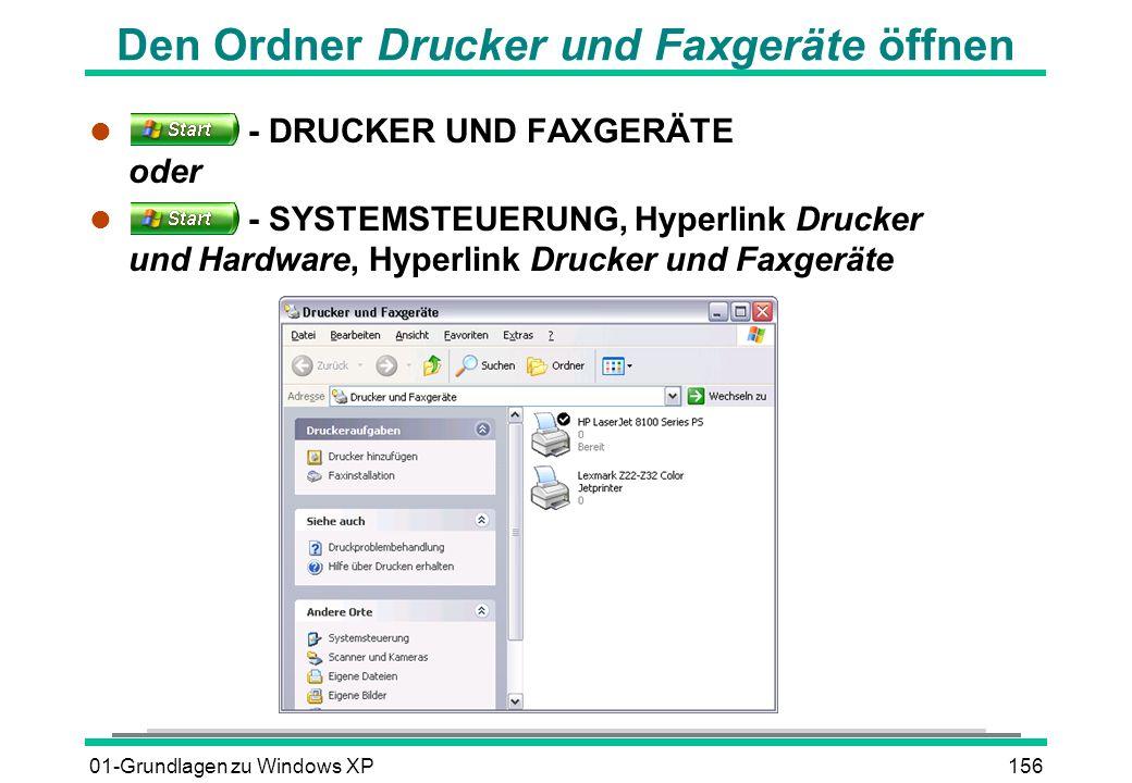 Den Ordner Drucker und Faxgeräte öffnen