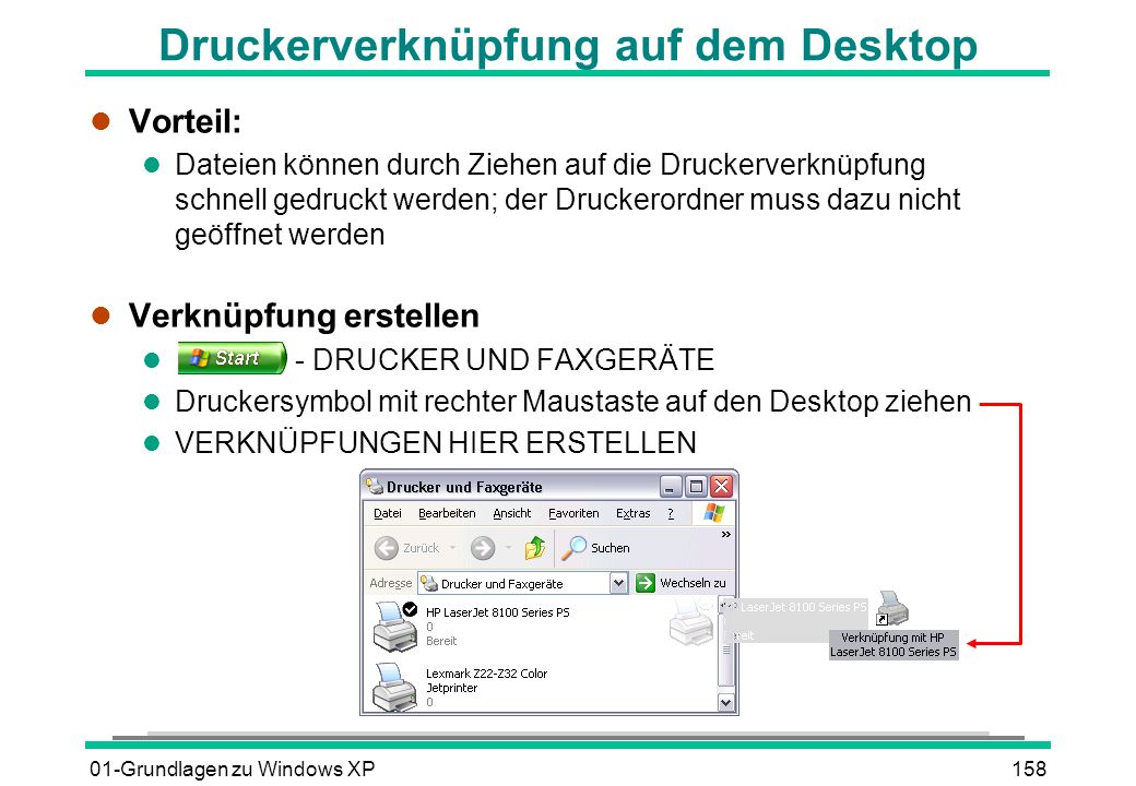 Druckerverknüpfung auf dem Desktop