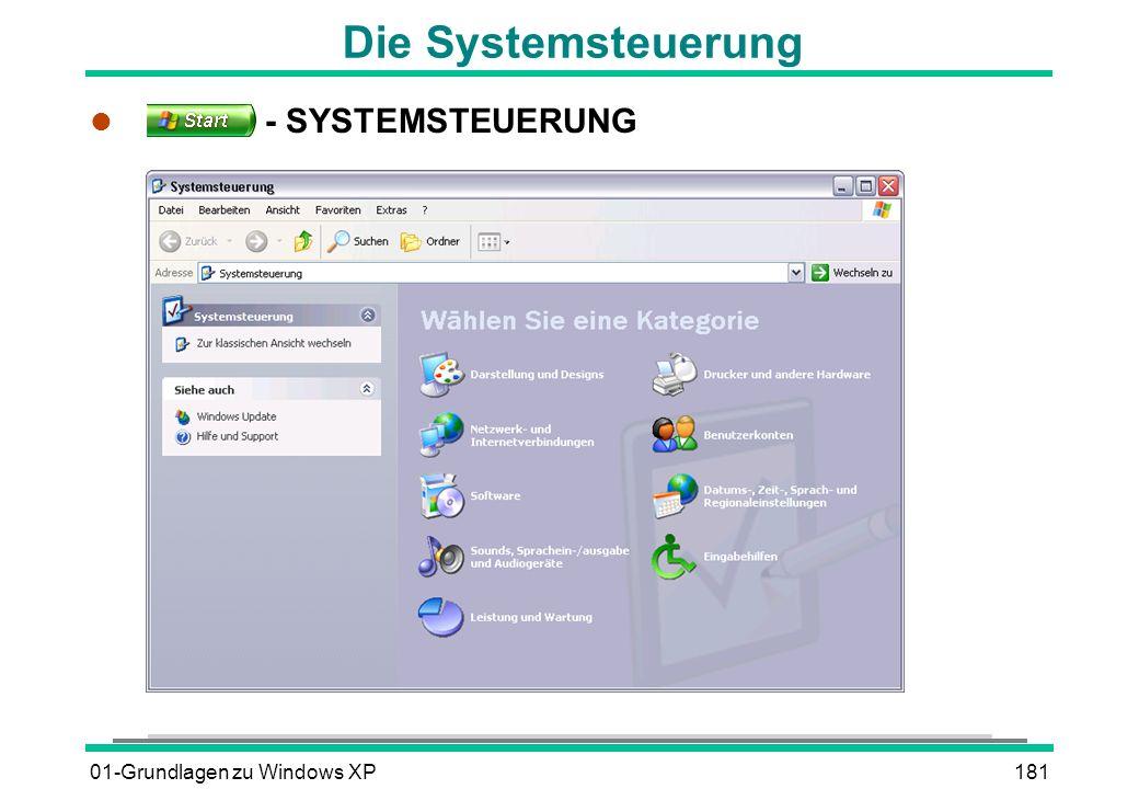 Die Systemsteuerung - SYSTEMSTEUERUNG 01-Grundlagen zu Windows XP