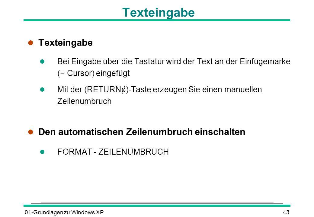 Texteingabe Texteingabe Den automatischen Zeilenumbruch einschalten