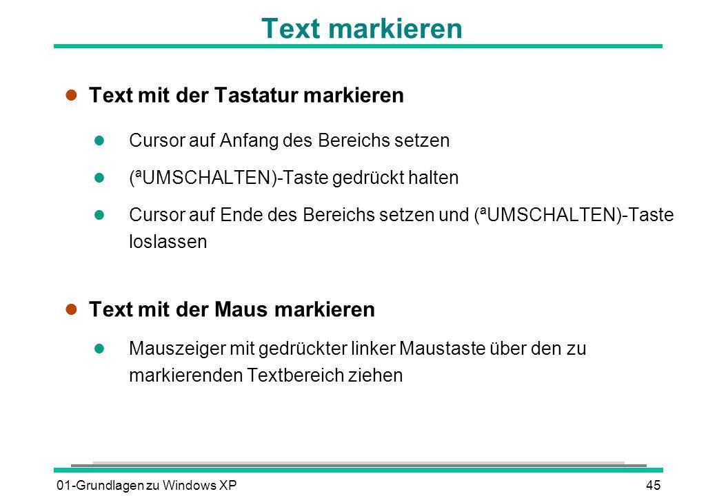 Text markieren Text mit der Tastatur markieren