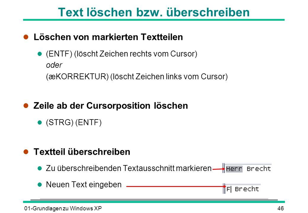 Text löschen bzw. überschreiben
