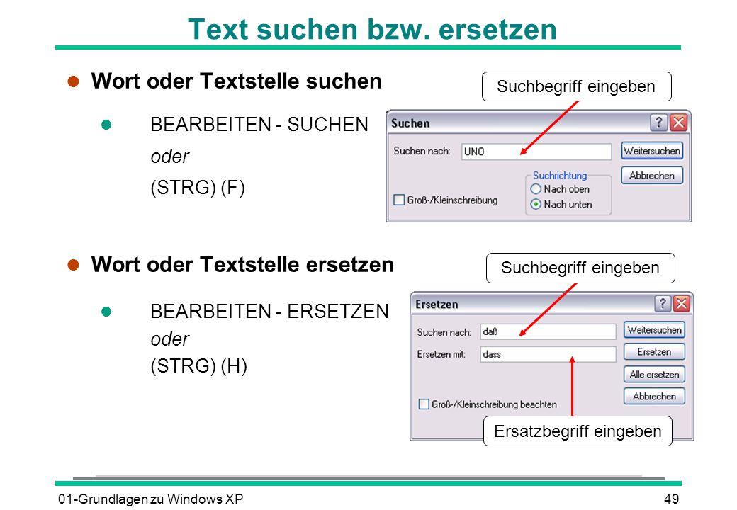 Text suchen bzw. ersetzen