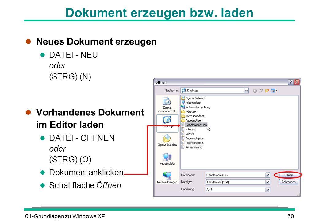 Dokument erzeugen bzw. laden