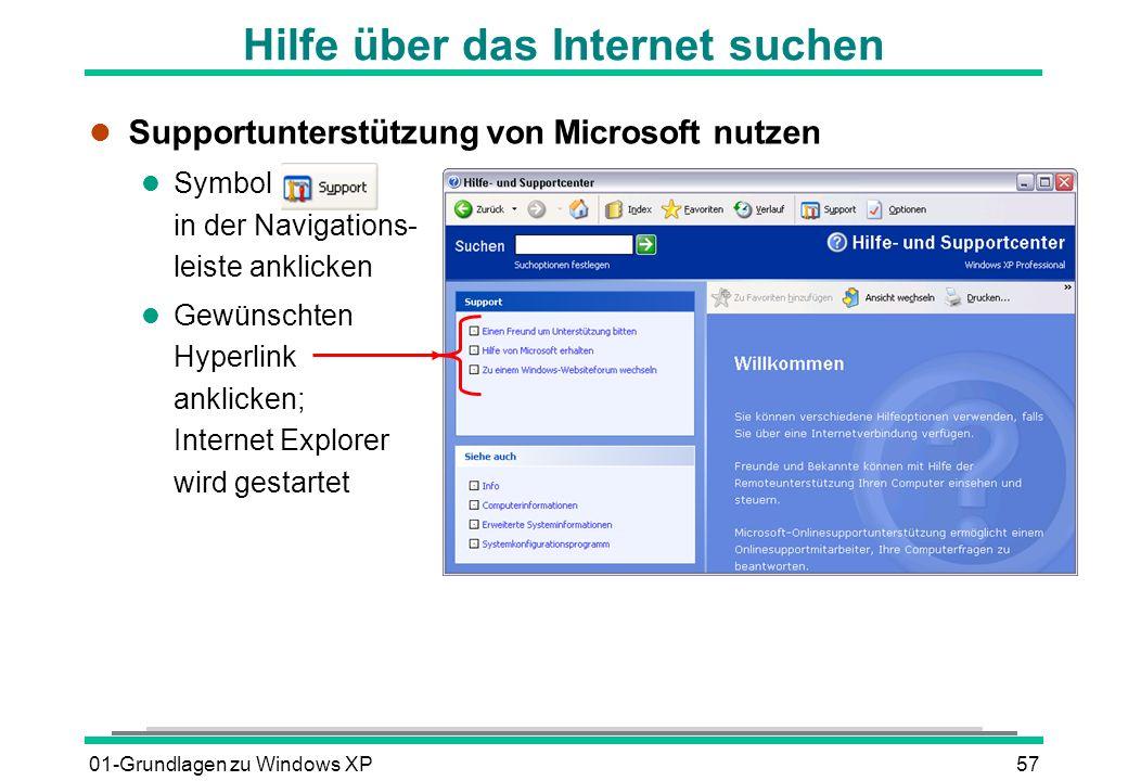 Hilfe über das Internet suchen