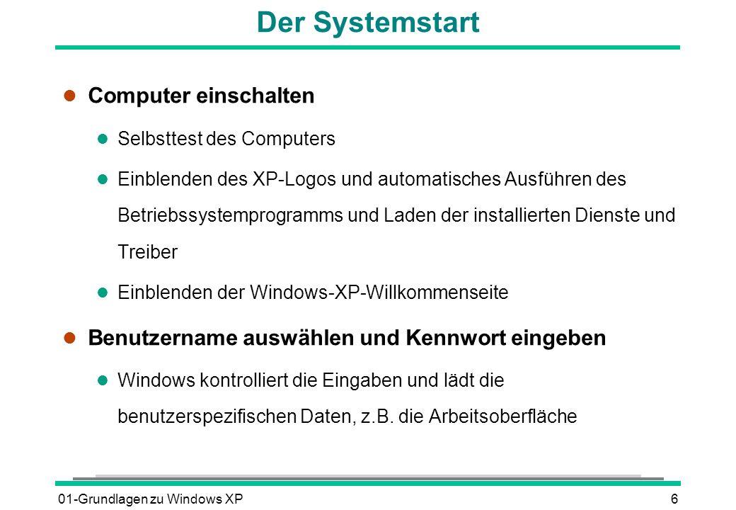 Der Systemstart Computer einschalten