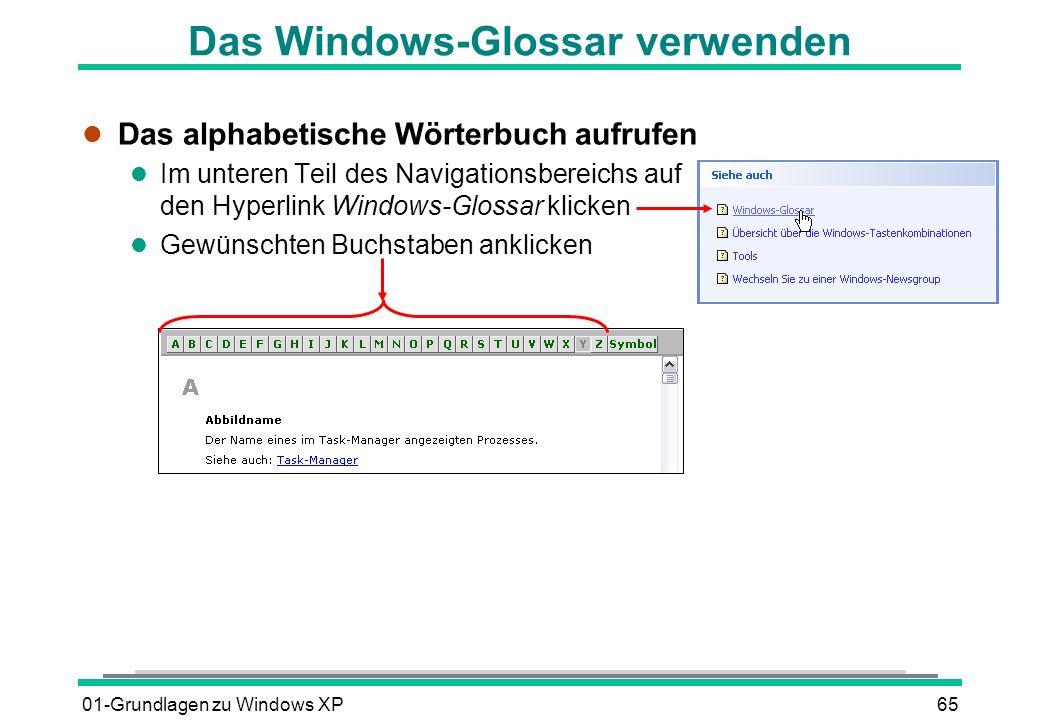 Das Windows-Glossar verwenden