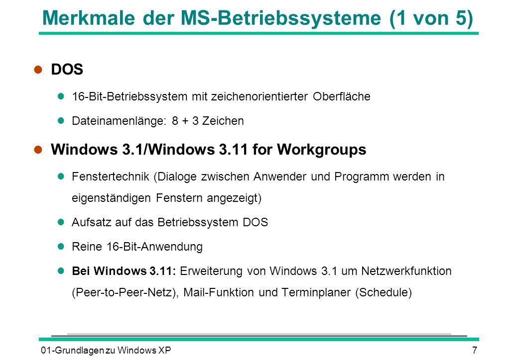 Merkmale der MS-Betriebssysteme (1 von 5)