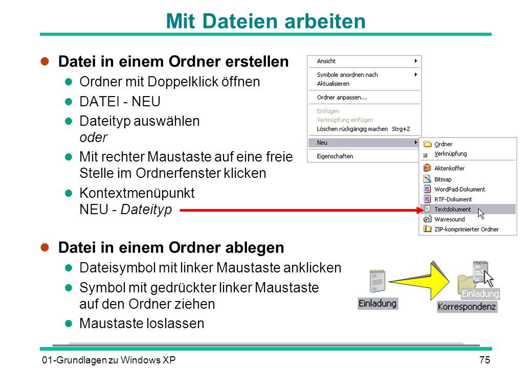 Mit Dateien arbeiten Datei in einem Ordner erstellen