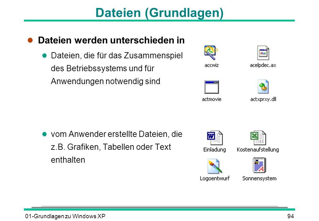 Dateien (Grundlagen) Dateien werden unterschieden in
