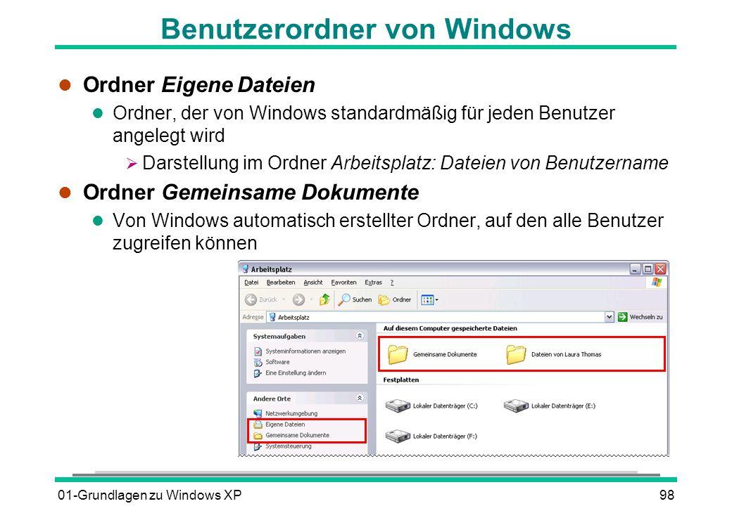 Benutzerordner von Windows