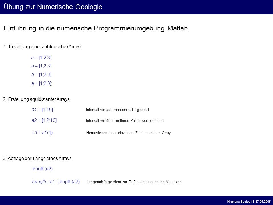 Übung zur Numerische Geologie