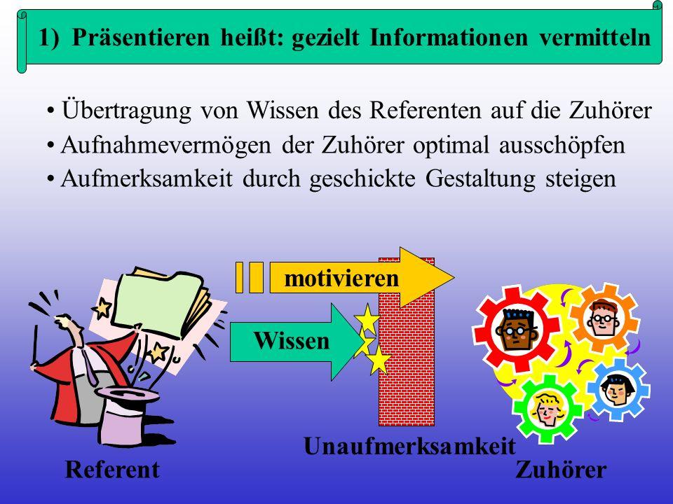 1) Präsentieren heißt: gezielt Informationen vermitteln
