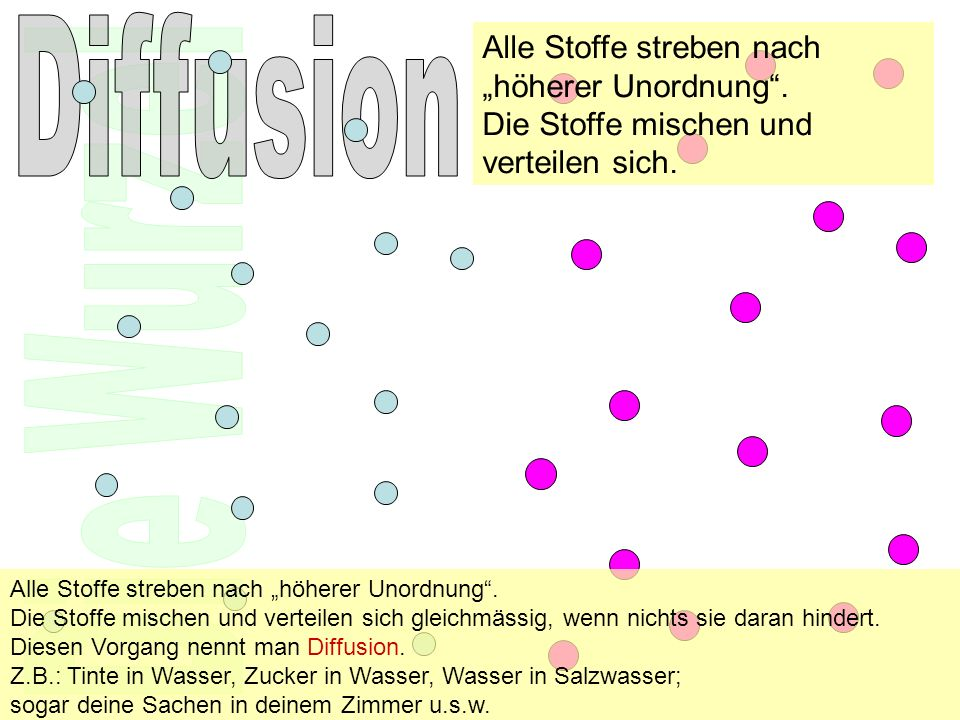 """Diffusion Alle Stoffe streben nach """"höherer Unordnung ."""