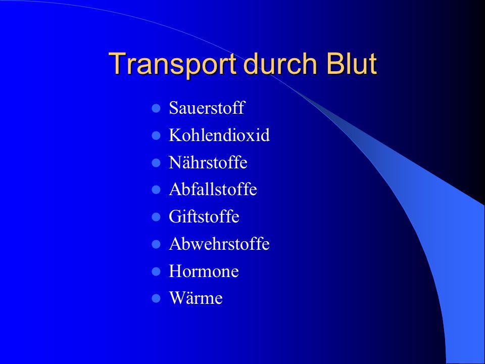 Transport durch Blut Sauerstoff Kohlendioxid Nährstoffe Abfallstoffe