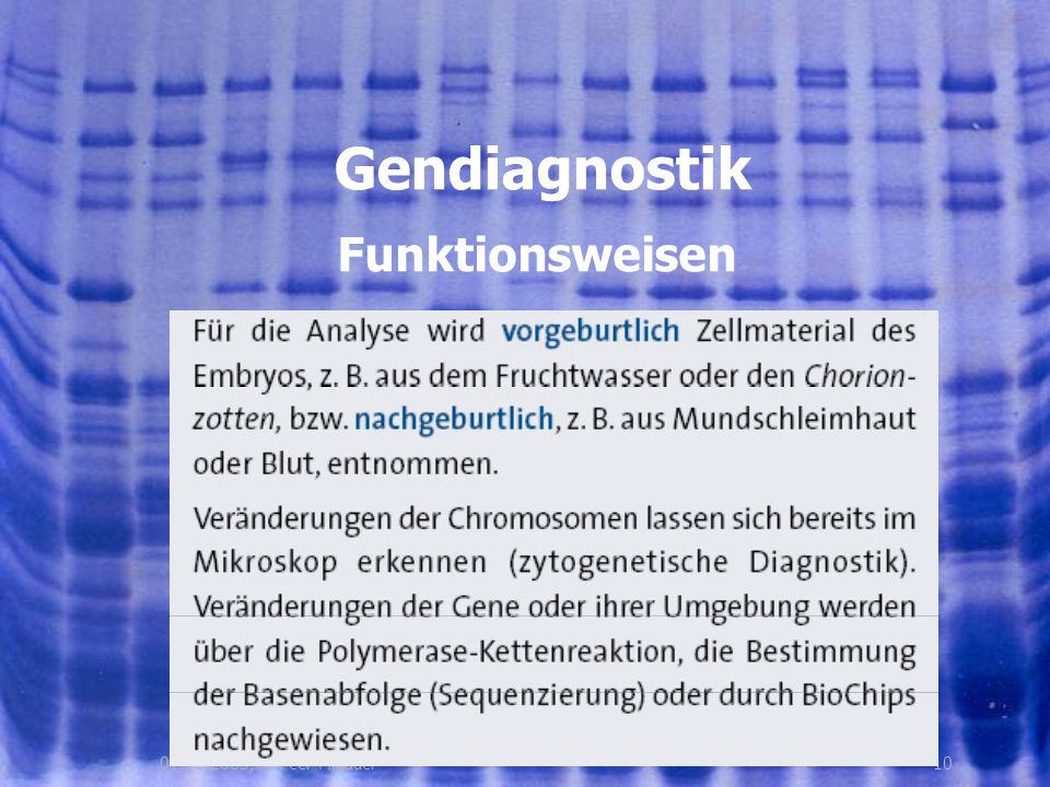 Gendiagnostik Funktionsweisen 01.08.2005, © Peer Millauer 10