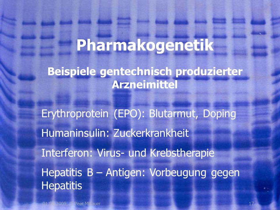 Beispiele gentechnisch produzierter Arzneimittel
