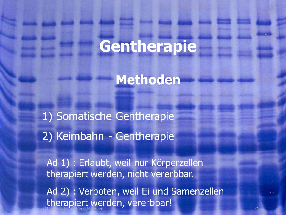Gentherapie Methoden Somatische Gentherapie Keimbahn - Gentherapie
