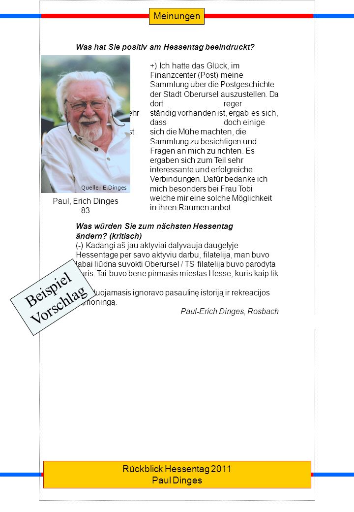 Beispiel Vorschlag Meinungen Rückblick Hessentag 2011 Paul Dinges