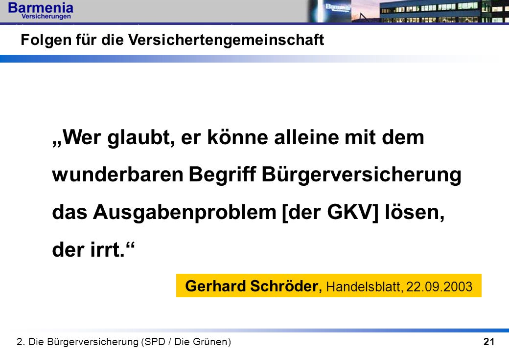 Gerhard Schröder, Handelsblatt, 22.09.2003
