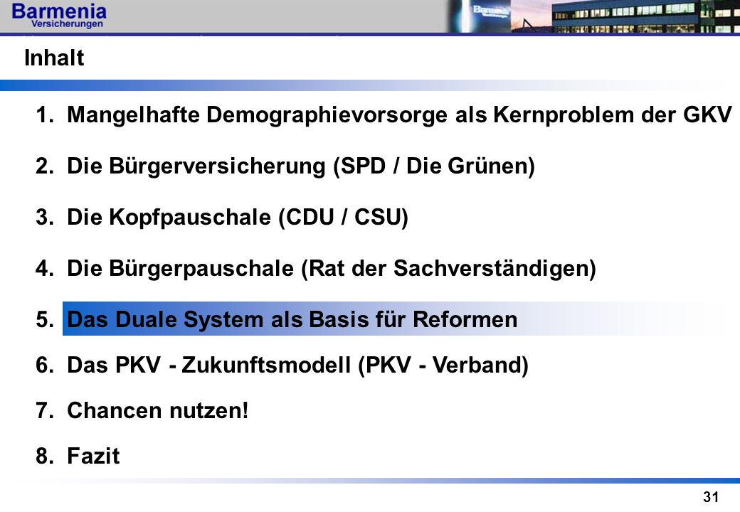 Inhalt1. Mangelhafte Demographievorsorge als Kernproblem der GKV. 2. Die Bürgerversicherung (SPD / Die Grünen)