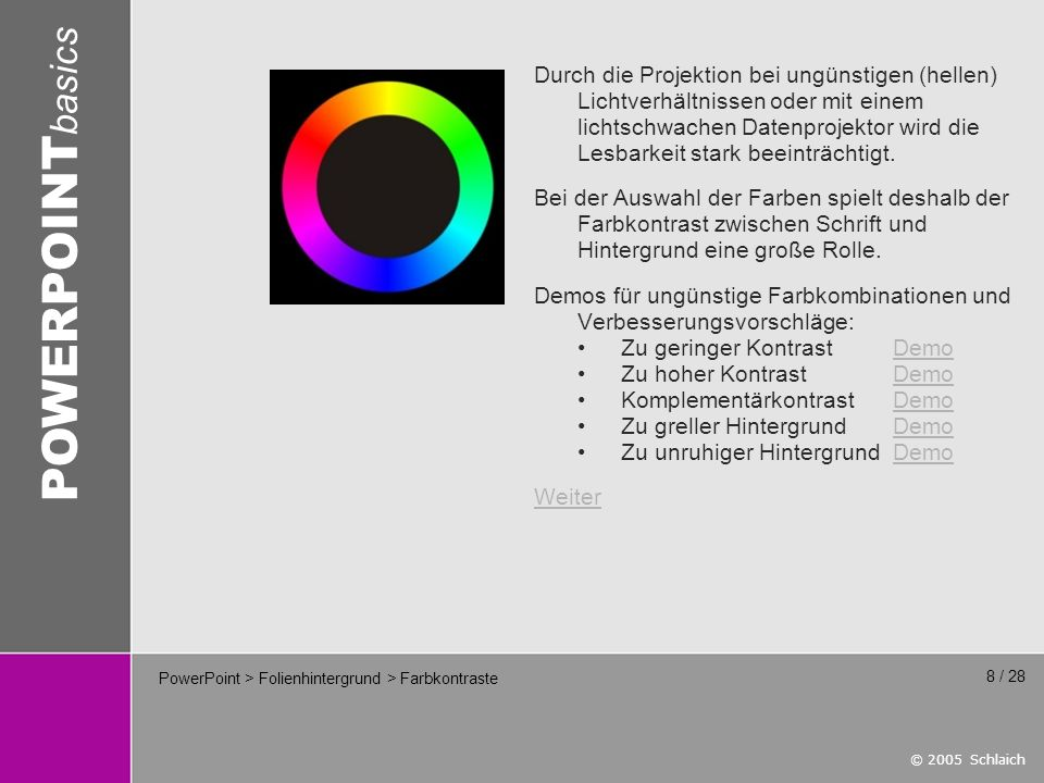 PowerPoint > Folienhintergrund > Farbkontraste