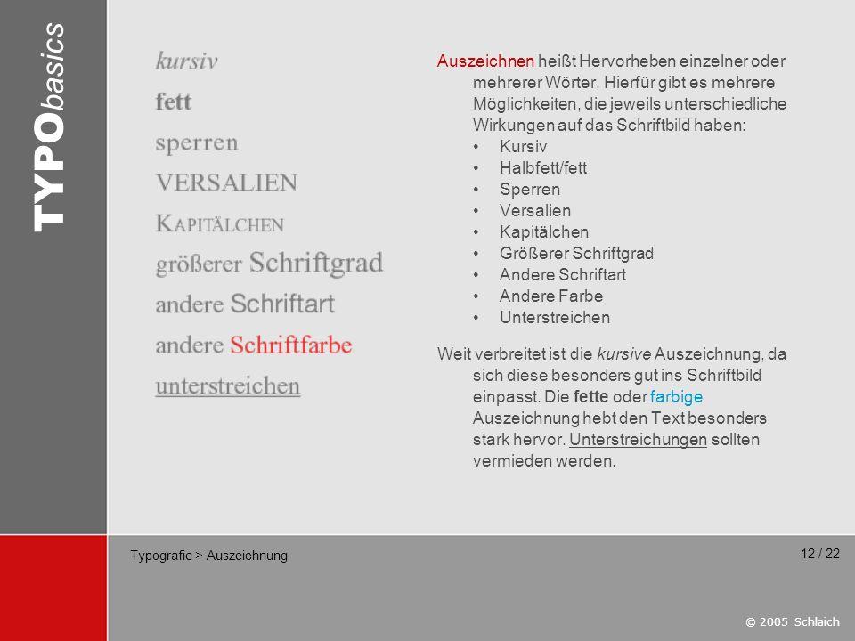 Typografie > Auszeichnung